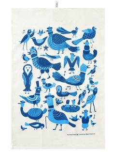 Finnish designers Kauniste does a nice line in Scandinavian folk art and crafts-influenced textiles including this Laululinnut Tea Towel. The design's Blue Towels, Tea Towels, Dish Towels, Scandinavian Folk Art, Scandi Art, Nordic Design, Japanese Design, Marimekko, Runes