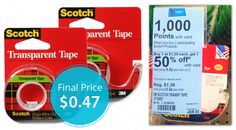 This week at Walgreens, Scotch tape is on sale, buy one get one 50% off. Buy two and receive 1,000 Balance Rewards Points, later worth about $1.00 when redeemed for store credit. Buy two rolls of Scotch Transparent Tape, regularly priced at $1.29. The final price is $0.47 each! Puffs tissues are $0.74 per box!