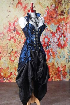 Blue & Black Medallion Pirate Coat  Damsel In This Dress  THIS is my FAVORITE Corset Maker... Hands DOWN. And this is my favorite design.... Well, one of 'em!