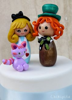 Alice in Wonderland cake topper Mad Hatter Chesire by Chikipita, $70.00