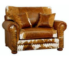 Weston Oversized Cowhide and Leather Chair