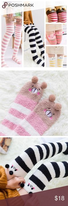 Cartoon animal over the knee warm socks Winter Warm Striped Knee Thigh High Thick Stocking Soft Cute Cartoon Animal Sock 100% Brand new & High quality Material: 65% Polyester& 35% Cotton  Style : Fashion Warm Cute Leggings,Over-knee Socks,Knee-High. Choose from.                  Yellow cat, red bear, black panda,pink bear, yellow pig Buy 2 get 3 rd pair free. Let me know your colors and i will make you a listing Accessories Hosiery & Socks