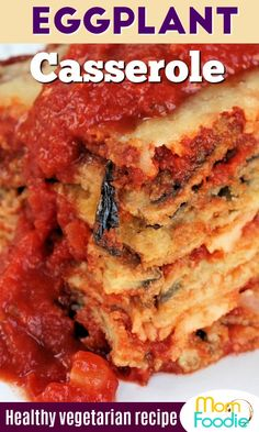 Stacked deep Dish Eggplant Parmesan, not greasy. just delicious vegetarian comfort food! Vegetarian Comfort Food, Vegetarian Recipes Easy, Cooking Recipes, Healthy Recipes, Pan Cooking, Keto Recipes, Baked Eggplant, Eggplant Parmesan, Healthy Eggplant