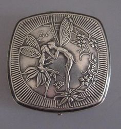 """DER KISS silver plated compact with fairies and flowers motif, Art Nouveau style, 2"""" by 1-5/8"""" thick"""