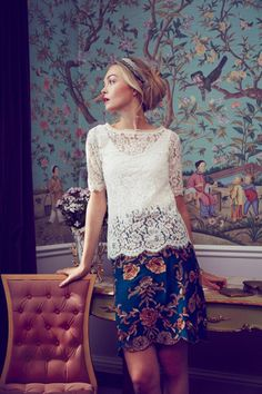 lace top + floral skirt