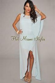 Baby Blue One Dolman Sleeve High-Low Maxi Dress