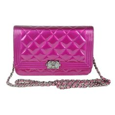 Pre-Owned Chanel Boy WOC Fuchsia Patent Cross Body Bag ($1,799) ❤ liked on Polyvore featuring bags, handbags, shoulder bags, red, purple purse, shoulder handbags, purses crossbody, chanel handbags and red patent leather purse