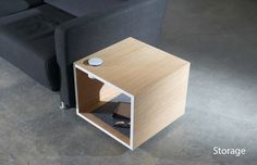 Rhombo Table by Ali Alamzadeh, Andy Liao, Dhia Istiqamah & Debbie Lee Coffee Table With Storage, Coffee Table Design, Stand By You, White Oak, Night Light, Ali, Cabinet, Charger, Minimal