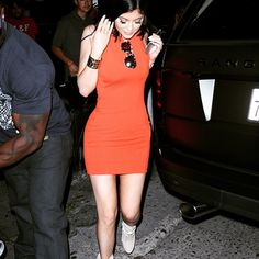 Kylie Jenner spotted in a red ribbed @nastygal dress- we love this look! #kyliejenner #nastygal