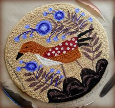 Feathered Folk copyright 2018 Michelle L. Palmer My husband sketched a picture of a new bird at our feeder years (and years) ago. I have the sketched tucked in one of my journals & decided it would make the perfect hooked rug. I made the wool rug based on his little sketch and then