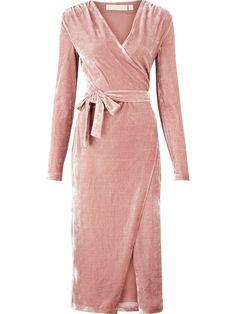 KEEPSAKE Eventually Long Sleeve Velvet Wrap Dress - Pink   veryexclusive.co.uk