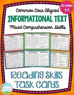 Informational Text Reading Skills Task Cards. Perfect for a mixed review of nonfiction texts!$