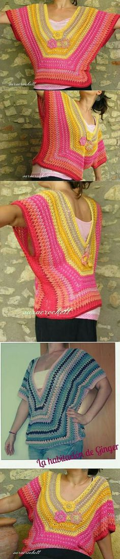 ❤~Crochet இڿڰۣ-ڰۣ— ❀ ✿ Granny-Poncho for Summer (spanish pattern) Crochet Bolero, Crochet Jacket, Crochet Cardigan, Love Crochet, Crochet Granny, Crochet Stitches, Knit Crochet, Crochet Designs, Crochet Patterns