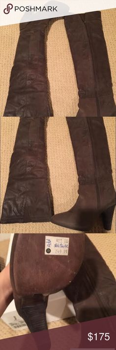 """Joie - Solitaire Over the Knee Boots These distressed nubuck over-the-knee boots feature seam detailing and elastic insets at the top line. Exposed side zip. 1/2"""" hidden platform and 4"""" stacked heel. 21"""" shaft and 15"""" circumference. Leather sole.  * Made in Brazil. Joie Shoes Over the Knee Boots"""