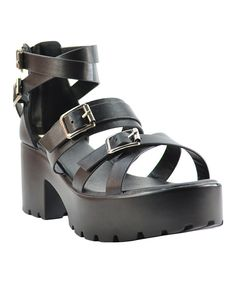 Look at this Black Chelsea Platform Sandal on #zulily today!