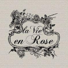 French Script Words La Vie En Rose Wall Decor Art by DigitalThings