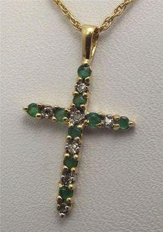 Gorgeous 10k Yellow Gold Emerald Diamond Cross Christian Necklace Pendant Charm #Pendant