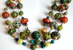 "Just sold,..............Torch Fired Enameled 3 Strand Tiered Statement necklace ""Jessie Lynn"""