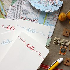 "letterpress pack of ""hello"" notecards with vintage map envelopes $25"