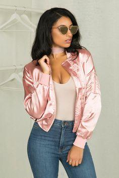 Satin Pink Bomber Jacket