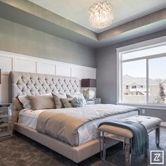 cieling, grey, light fixture, panels Dream Master Bedroom, Home Staging Tips, Parade Of Homes, Living Styles, Wainscoting, Beautiful Bedrooms, Luxury Homes, Bedroom Decor, Bedroom Ideas