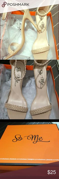 Nude strap high heels Nude braided brand new heels, that zips up. Not listed brand Chinese Laundry Shoes Heels