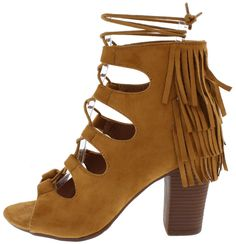 MORAVIA CAMEL OPEN TOE MULTI LAYER FRINGE STACKED CHUNKY HEEL ONLY $10.88