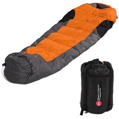 Best Choice Products Mummy Sleeping Bag with Carrying Case, Orange/Grey/Black. Envelope-style sleeping bag is lightweight for easy transportation and will keep you cozy during camping trips or sleepovers. Keep temperate weather conditions from being an issue whether using this sleeping bag in- or outdoors. Composed of 210T water-resistant nylon and hollowfibre filling for maximum comfort, as well as a side zipper for easy access. Carrying case included, making this sleeping bag storage...