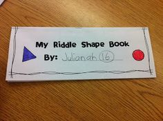 Riddle Shape Flip book- Great FREEBIE to help teach 2D and 3D shapes.