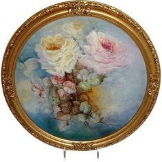 Vintage 16' Framed French JPL Limoges Charger Hand Painted Roses