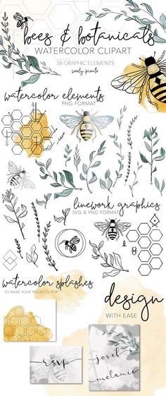 This bees & botanicals clipart set was created with black ink and watercolor techniques for a super modern look and feel. Create gorgeous cards, branding, logo designs, websites, and invitations… Illustration Design Graphique, Botanical Illustration, Bumble Bee Illustration, Illustration Art, Watercolor Clipart, Watercolor Art, Black Watercolor Tattoo, Watercolor Branding, Bee Art