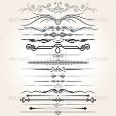 Decorative Dividers. Collection of Design Elements by PILart Stylized Ornamental Rule Lines. Vector Design Elements - vector illustration with simple gradients - vector graphics with CMYK c