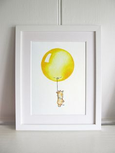 """Nursery Art Picture, 10x12"""" Bright Balloon Fine Art Print. Personalise and Choose your own colour / character."""