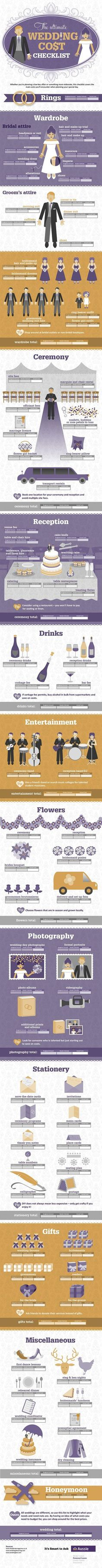 The Ultimate Wedding Cost Checklist Infographic - wish-upon-a-wedding