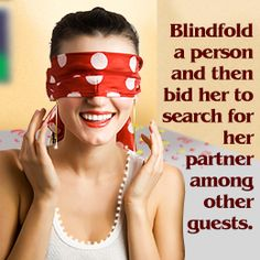 Indoor party game for couples - blindfold and find
