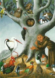 Franciscus praat met de vogels, A. Fuchshuber | Heiligen | De Boekerij Zutphen
