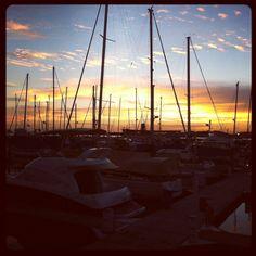 Watching the sunset at Raffles Marina
