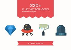 330 Flat Vector Icons by Dreamstale on @creativemarket