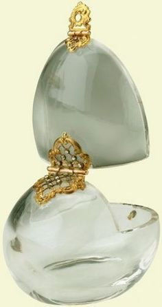 Faberge c. 1896 to 1903 - rock crystal was difficult to carve because it was prone to crumbling. As it could not tolerate heat from soldering, any settings such as the gold and diamond clasp on this box, had to be assembled with clips and pins. Probably acquired by Queen Alexandra
