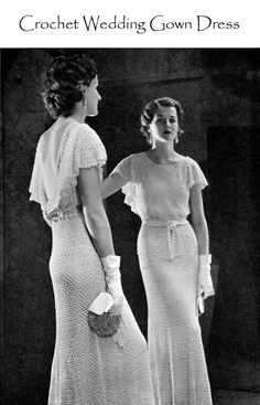 Vintage 30s CROCHET  Wedding DRESS PDF Pattern - Lace Evening Gown Bride Pattern. $4.99, via Etsy.