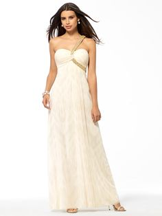 Ivory Foiled One Shoulder Gown