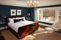 Stylish Bedroom Paint Ideas Applied for Guys Private Space: Wonderful Transitional Bedroom Interior Design With Dark Blue Bedroom Paint Ideas For Home Inspiration To Your House Dark Blue Bedrooms, Blue Master Bedroom, Navy Bedrooms, Blue Bedroom Walls, Blue Rooms, Guest Bedrooms, Home Bedroom, Bedroom Decor, Bedroom Ideas