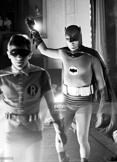 Batman played by Adam West and Robin played by Burt Ward filming on May in New York, New York. Get premium, high resolution news photos at Getty Images Real Batman, Batman Y Robin, Batman Tv Show, Batman Comic Art, Batman Tv Series, Batman 1966, Batman Arkham City, Im Batman, Batcave