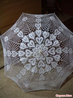 Umbrella pattern by Lermolaeva Crochet Fabric, Crochet Doilies, Knit Crochet, Crochet Designs, Crochet Patterns, Lace Parasol, Basic Embroidery Stitches, Crochet Table Runner, Point Lace
