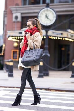 try wearing a traditional tartan scarf with an everyday outfit to get that wintery feel