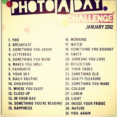 Photo A Day Challenge - 365 ideas
