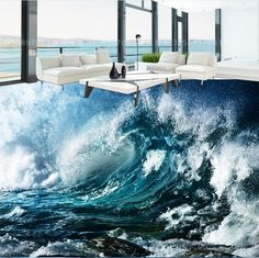 (48.98$)  Watch more here - http://aizc8.worlditems.win/all/product.php?id=32693305263 - 3D floor ocean waves custom 3d floor pictures blue waves non-slip self-adhesive waterproof floor decor
