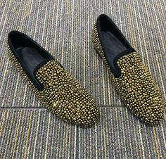 Mens punk fashion slip on vogue spring round toe dress loafers shoes rivet chic