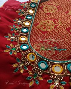 Mirror Blouse Design, Mirror Work Blouse, Aari Work Blouse, Red Mirror, Blouse Designs, Party Wear, Projects To Try, Blouses, App