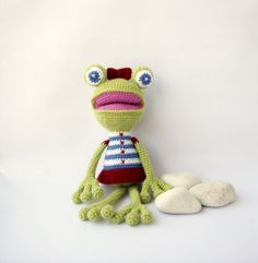 Girl Frog Sailor Crocheted Toy Frog Sailor Gilrs by DuduToyFactory, $45.50